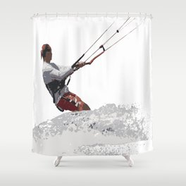Kiteboarding Lets Go Fly A Kite Vector Shower Curtain