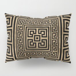 Greek Key Ornament - Greek Meander -Black on gold Pillow Sham