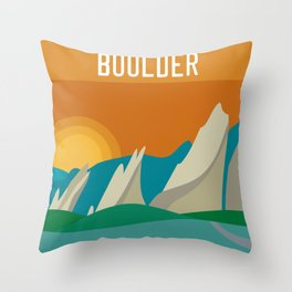Boulder, Colorado - Skyline Illustration by Loose Petals Throw Pillow