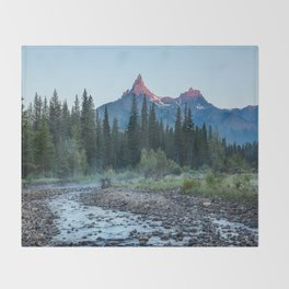 Pilot Peak - Mountain Scenery at Sunrise in Northeastern Yellowstone Throw Blanket