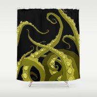 lovecraft Shower Curtains featuring Subterranean Green by Abigail Larson