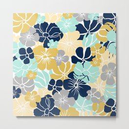 Fun, Floral Prints, Yellow, Navy, Aqua, Gray, Colourful Prints Metal Print