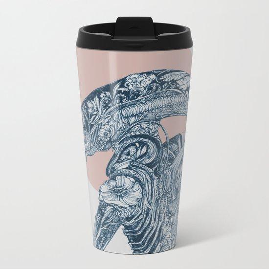 Floral Alien Metal Travel Mug