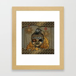 Steampunk, awesome steampunk skull with steampunk rat Framed Art Print