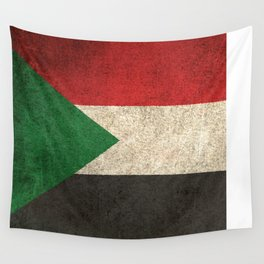 Old and Worn Distressed Vintage Flag of Sudan Wall Tapestry