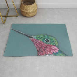 Ruby Throated Hummingbird Portrait Rug