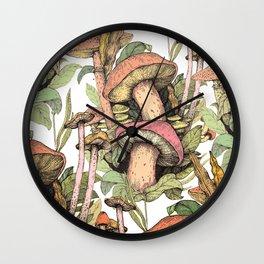 mushrooms in the wild Wall Clock