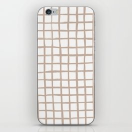 Strokes Grid - Nude on Off White iPhone Skin