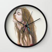 wind Wall Clocks featuring The Wind by Carlos ARL