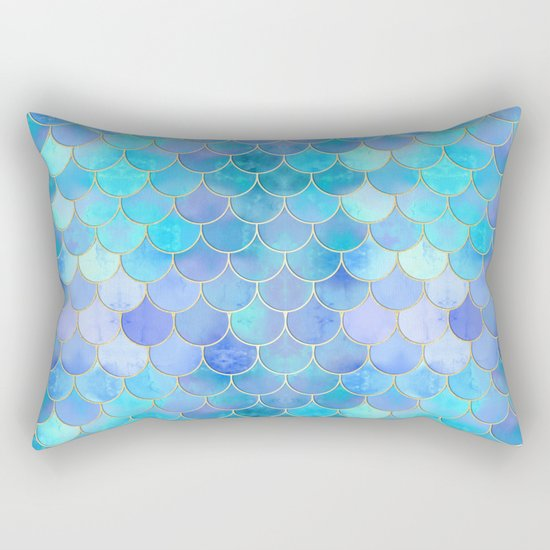 Aqua Pearlescent & Gold Mermaid Scale Pattern by tanyalegere