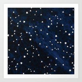 Aquarius Constellation Hand Drawn Pattern Art Print