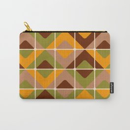 Retro 70s diamond tiles upholstery fabric orange, brown Carry-All Pouch