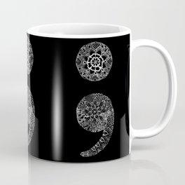Patterned Semicolon: White on Black Coffee Mug