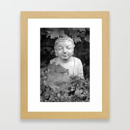 Buddha back and white Framed Art Print