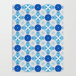 Watercolor Geometry Blue Poster
