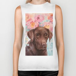 Flowers and Chocolate (chocolate lab dog watercolor portrait painting) Biker Tank