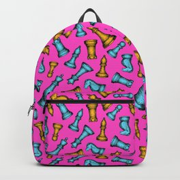 Scattered Chess Pieces (Magenta Palette) Backpack
