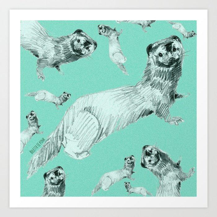 Mink in Bleu (c) 2017 Art Print