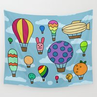 hot air balloons Wall Tapestries featuring Happy Hot Air Balloons by Eliza Stein