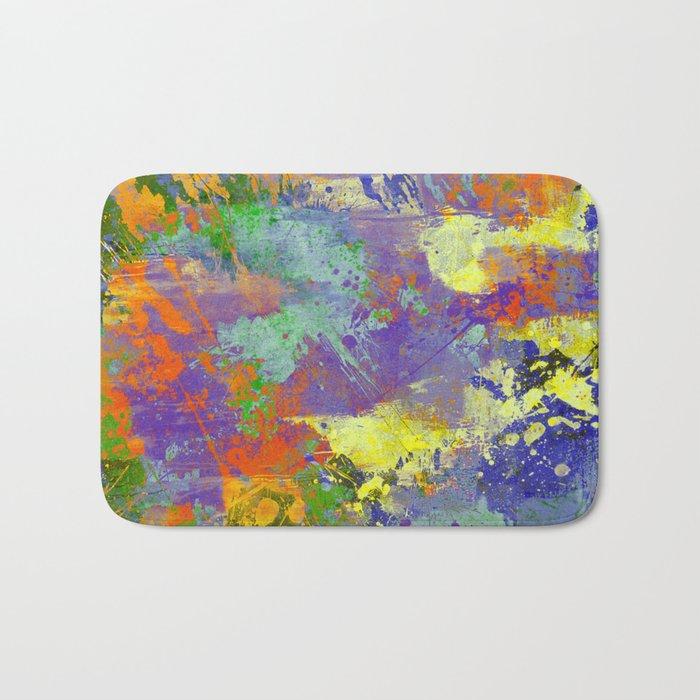Signs Of Life - Vibrant, random paint splatter multi coloured abstract Bath Mat