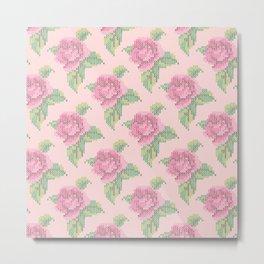 Cross Stitch Rose Pattern in pink Metal Print