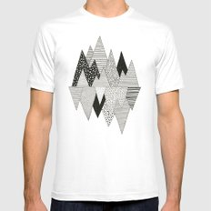 Lost in Mountains MEDIUM White Mens Fitted Tee