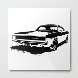 Dodge Charger Stencil Metal Print