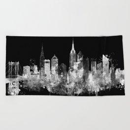 New York City Inverted Watercolor Skyline Beach Towel