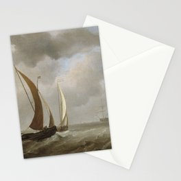 Willem van de Velde the Younger - Two Kaags at Sea Before a Fresh Breeze Stationery Cards