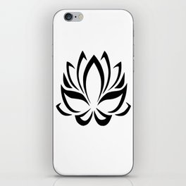 Black and White Lotus Flower iPhone Skin