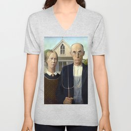 Iconic American Gothic by Grant Wood Unisex V-Neck