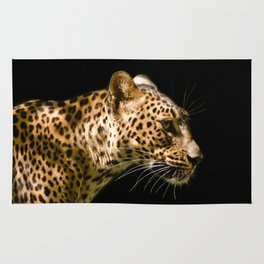 Leopard on black - side Rug