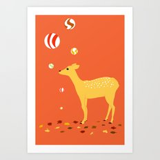 Fall and fawn Art Print