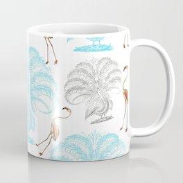 Vintage blue gray orange flamingo peacock drawing Coffee Mug