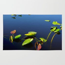 Green Red Leaves in Water Rug