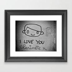 I Love You Clarinette! Framed Art Print