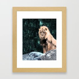 Lion King of the Emerald Panthera Galaxy Framed Art Print