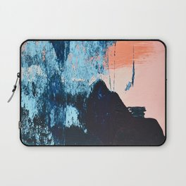 Delight: a vibrant abstract painting in blues and coral by Alyssa Hamilton Art Laptop Sleeve