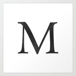 Letter M Initial Monogram Black and White Art Print