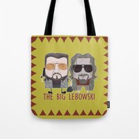 lebowski Tote Bags featuring The Big Lebowski by Francesco Dibattista