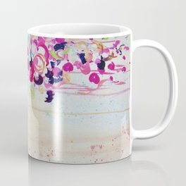 DANCE OF THE SAKURA - Lovely Floral Abstract Japanese Cherry Blossoms Painting, Feminine Peach Blue  Coffee Mug