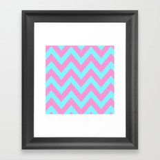 PINK & TEAL CHEVRON  Framed Art Print