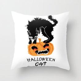 Scared Halloween black cat on pumpkin. Throw Pillow