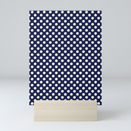 Polka dots circus collection (Blue & White) Mini Art Print