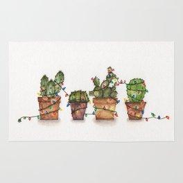 Festive  cacti - watercolor Rug