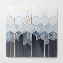 Soft Blue Hexagons Metal Print