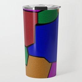Geometric Colorful Cracked Tile Travel Mug