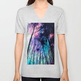 Black Trees Colorful SpacE Unisex V-Neck
