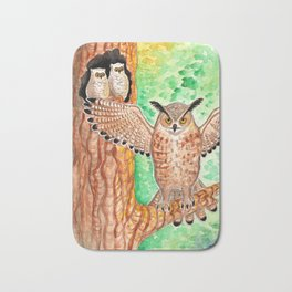 Horned Owl and Owlets in a Nest Bath Mat