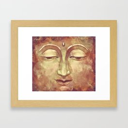 Relaxing Warm Buddha Watercolor Portrait Painting in Orange, Yellow, Green Framed Art Print